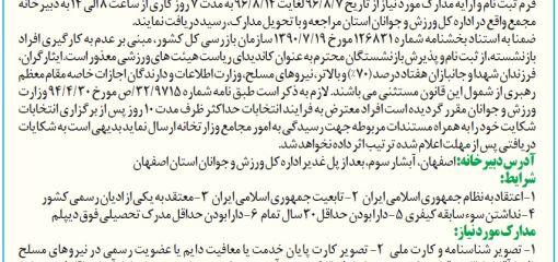 انتخابات رئیس هیئت والیبال استان اصفهان